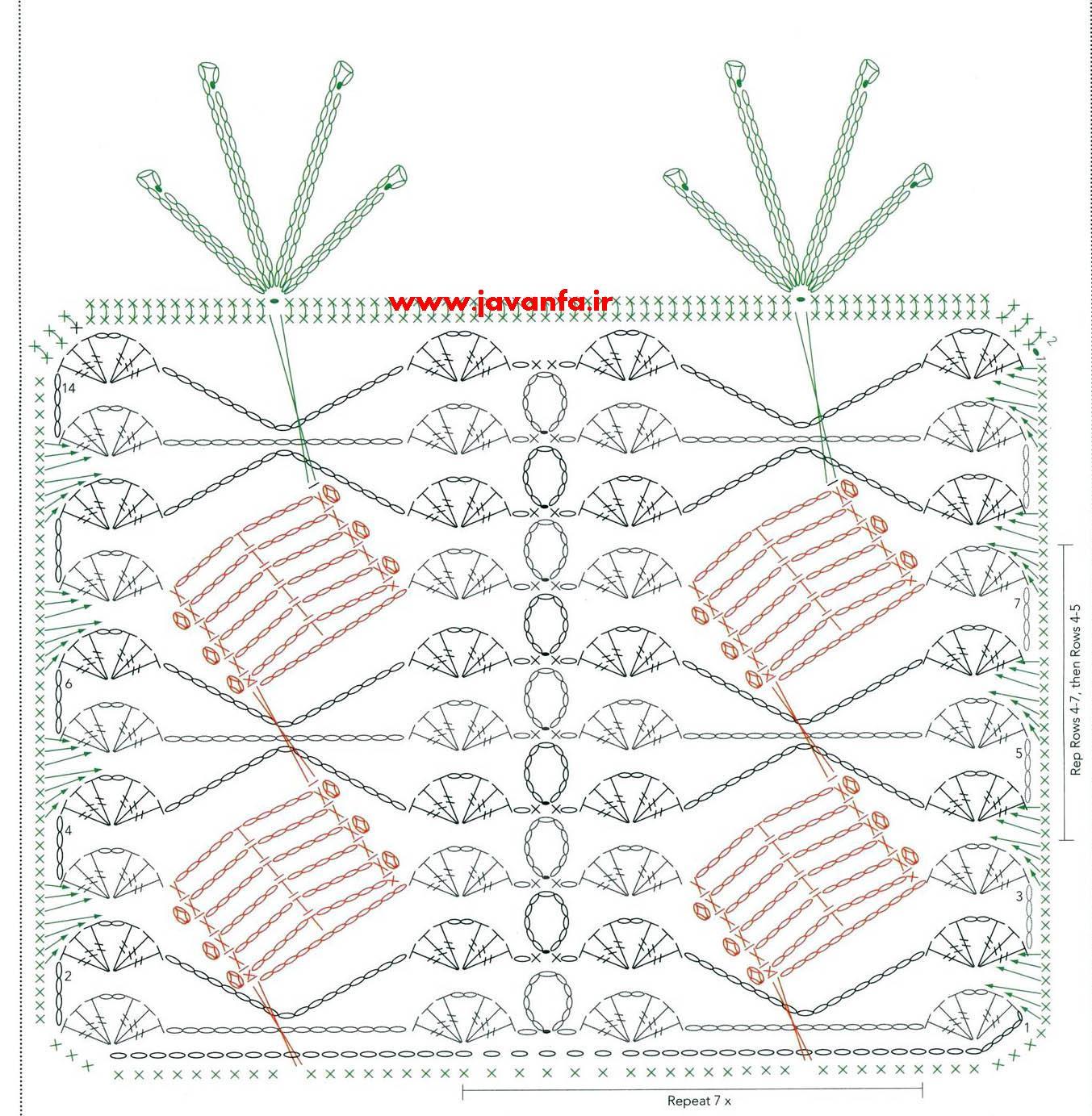 نقشه الگو بافت شال قلاب بافی بسیار زیبا و شیک
