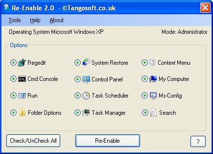 تصویر محیط نرم افزار Re-enable