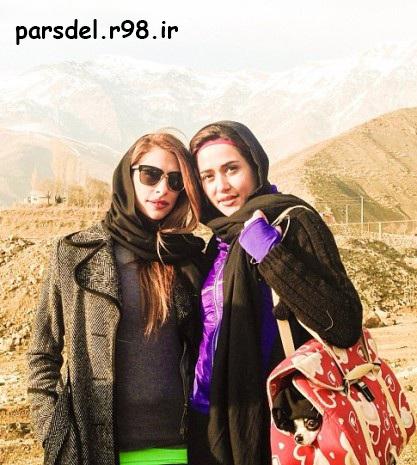 عکس پریناز ایزدیار درکوه همراه با حیوان خانگی اش