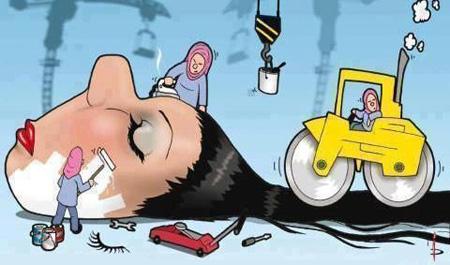 سری جدید کاریکاتور های استفاده زیاد از لوازم آرایش