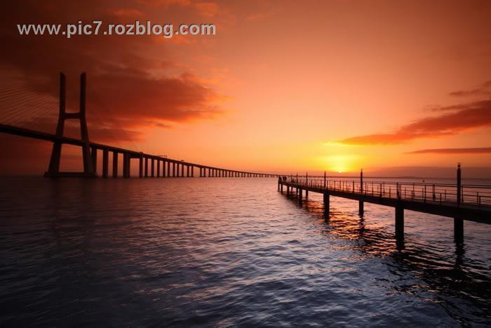 تصاویر غروب خورشید قشنگ روی پل ها مرداد 92