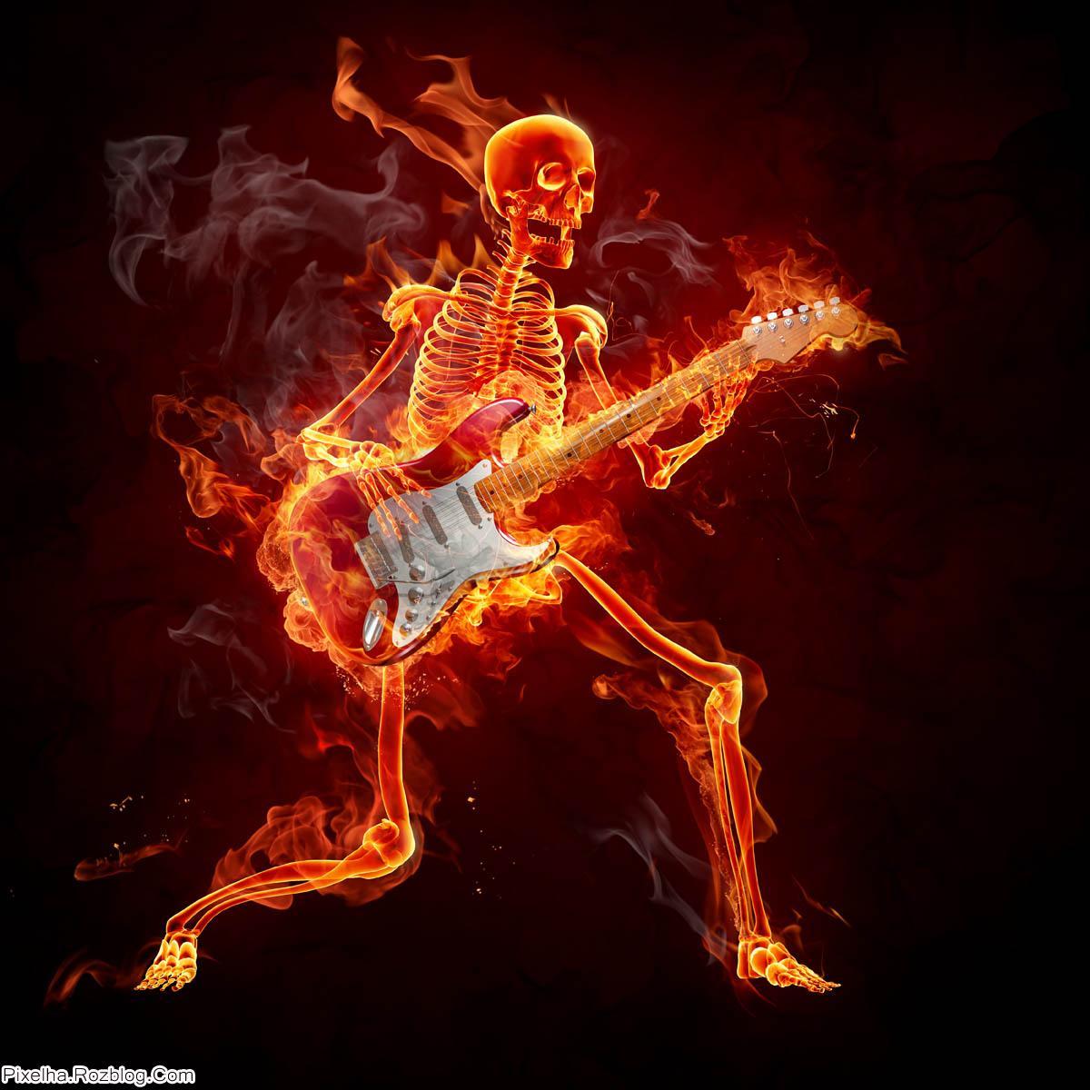 اسکلت آتشین گیتار زن