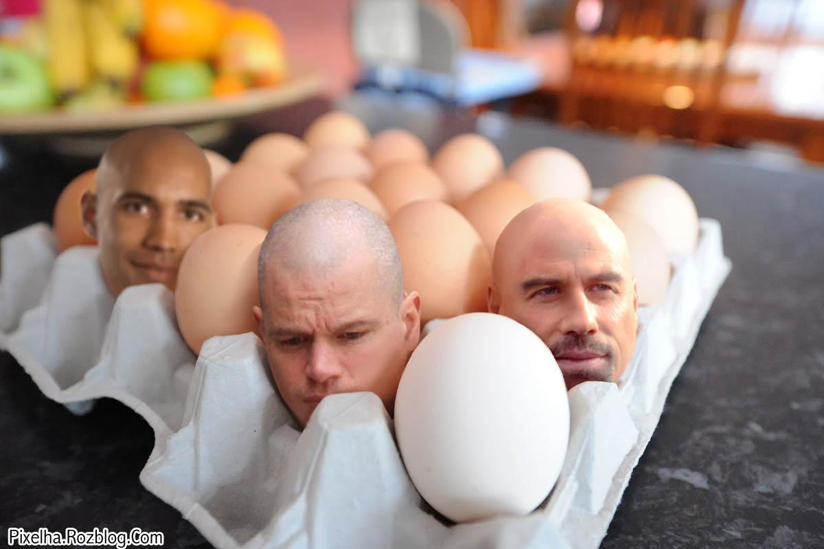 عکس فتوشاپی سر انسان و تخم مرغ