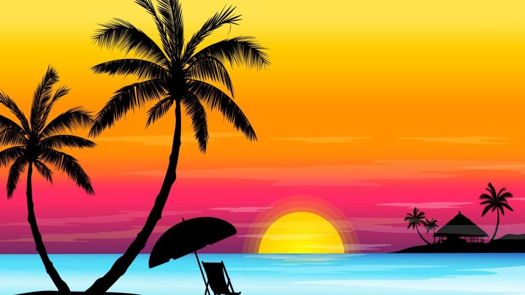 عکس کارتونی غروب خورشید در ساحل
