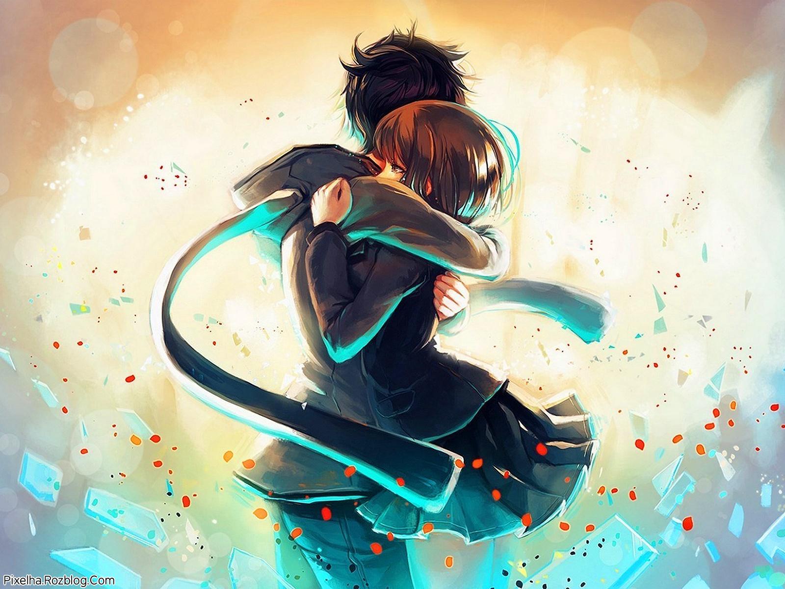 عکس کارتونی دختر و پسر عاشق در آغوش هم