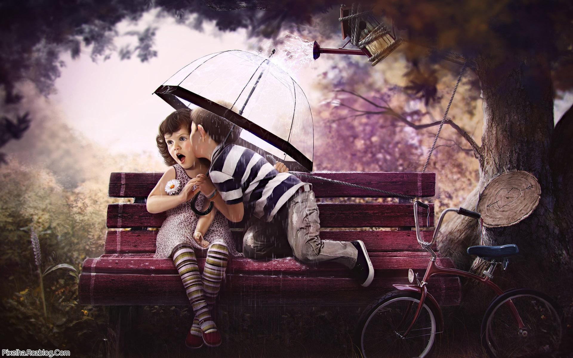 عکس کارتونی بوسه دختربچه و پسربچه
