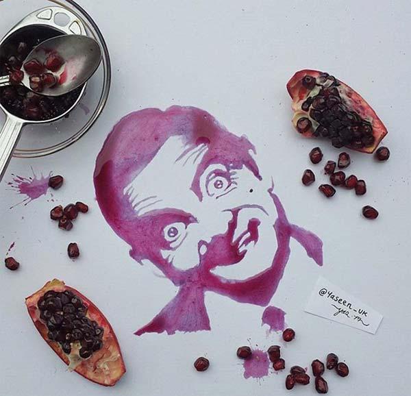 نقاشي هاي استادانه با بعضي از خوراکي ها