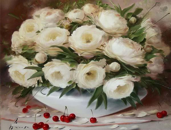 نقاشي هاي زيباي رنگ روغن از گل ها