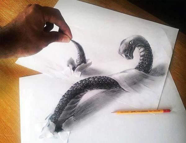 نقاشي هاي سه بعدي زيبا با مداد
