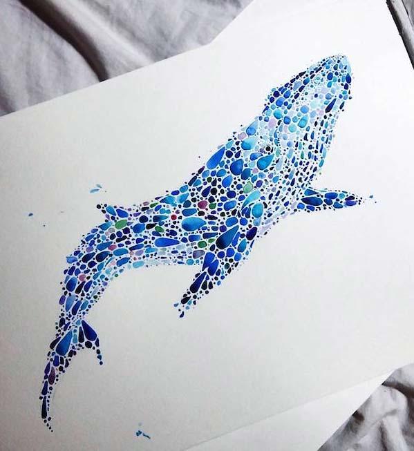 نقاشي با آبرنگ از ساختمان نقاشي هاي از حيوانات با هزاران نقطه ي رنگي آبرنگ