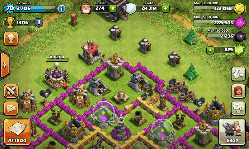 فروش اکانت clash of clans لول 70