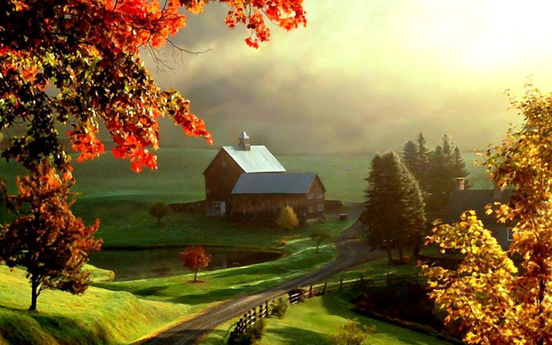 نقاشی زیبا از پاییز یک مزرعه