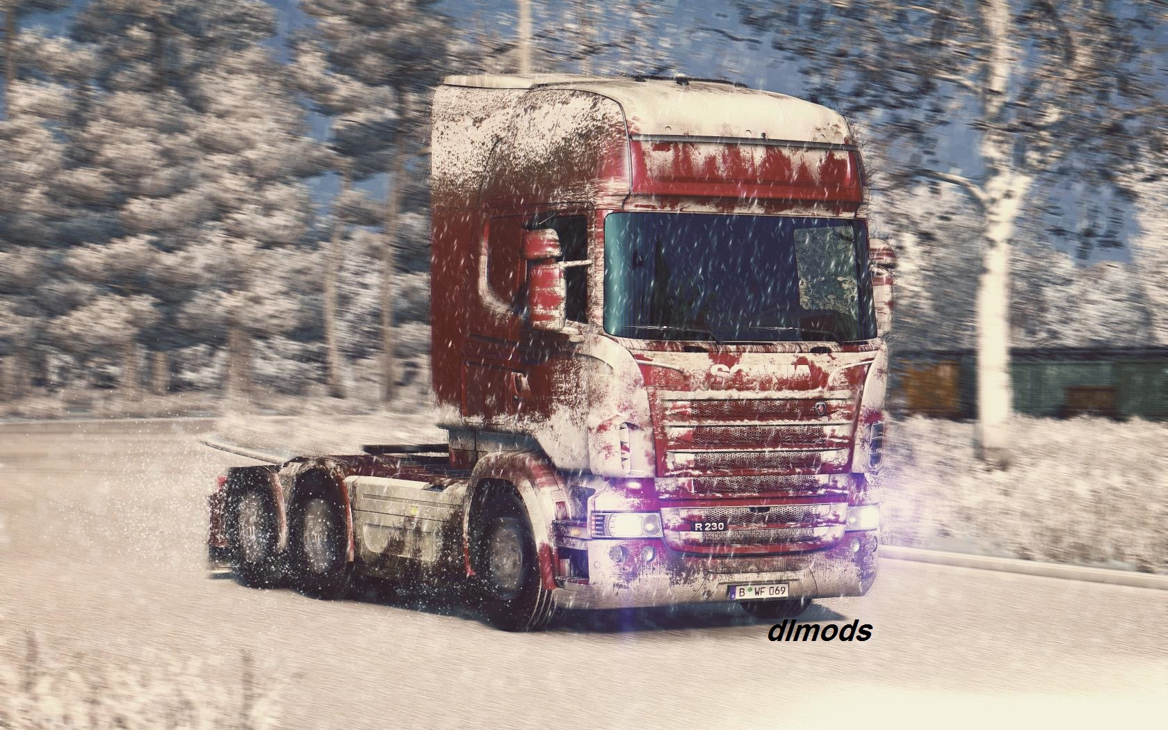 دانلود مد SNOW SKIN FOR SCANIA R-STREAMLINE BY RJL & SCS