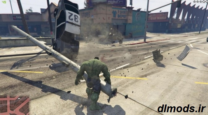 دانلود مد شخصیت HULK در بازی GTA V