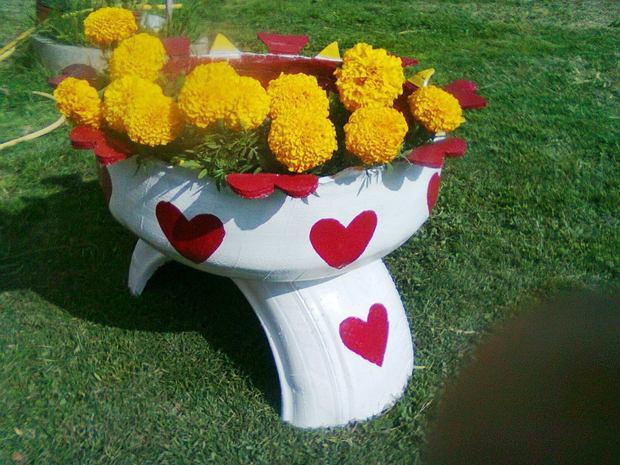 درست کردن جای گل و گلدان های زیبا و خلاقانه با لاستیک های فرسوده خودرو