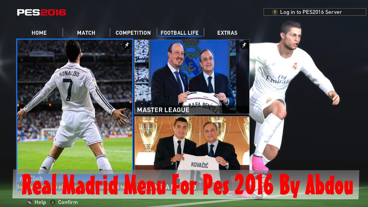دانلود منوی گرافیکی رئال مادرید برای pes 2016