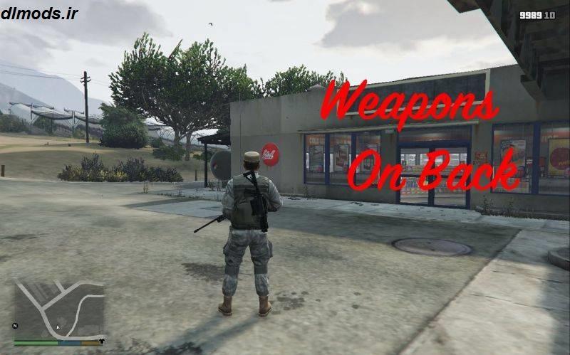 دانلود مد قرار دادن اسلحه در پشت برای بازی GTA V