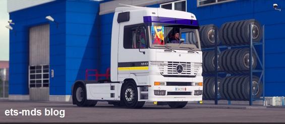 دانلود کامیون زیبای مرسدس بنز mp1 + داخلی برای ets2