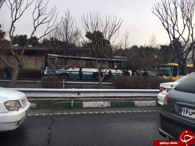 آتش سوزی اتوبوس در اتوبان نیایش /هیچ کس صدمه ندید+عکس