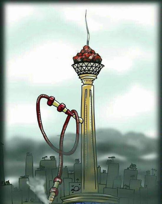 آلودگی هوای تهران به روایت کاریکاتور