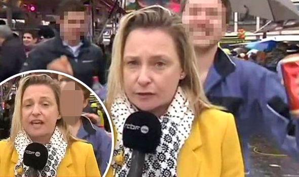 تعرض به خبرنگار زن در برنامه زنده جلوی دوربین! +عکس