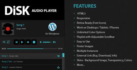 افزونه اجرای موسیقی آنلاین در وردپرس Disk Audio Player نسخه 1.6.4