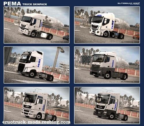 دانلود پک بزرگ اسکین برای همه ی کامیون های یورو تراک