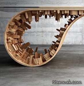 میز چوبی که یک شهر داخلش جا شده + تصاویر