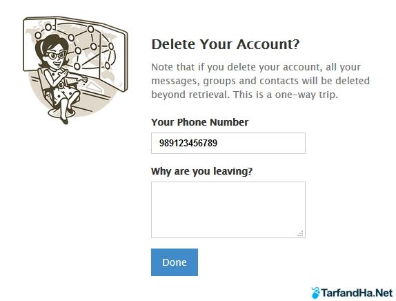 حذف اکانت telegram