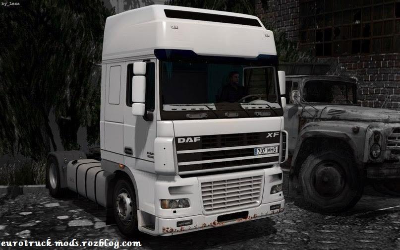 دانلود کامیون بی نظیر daf xf95 یورو 3 + داخلی برای یورو تراک