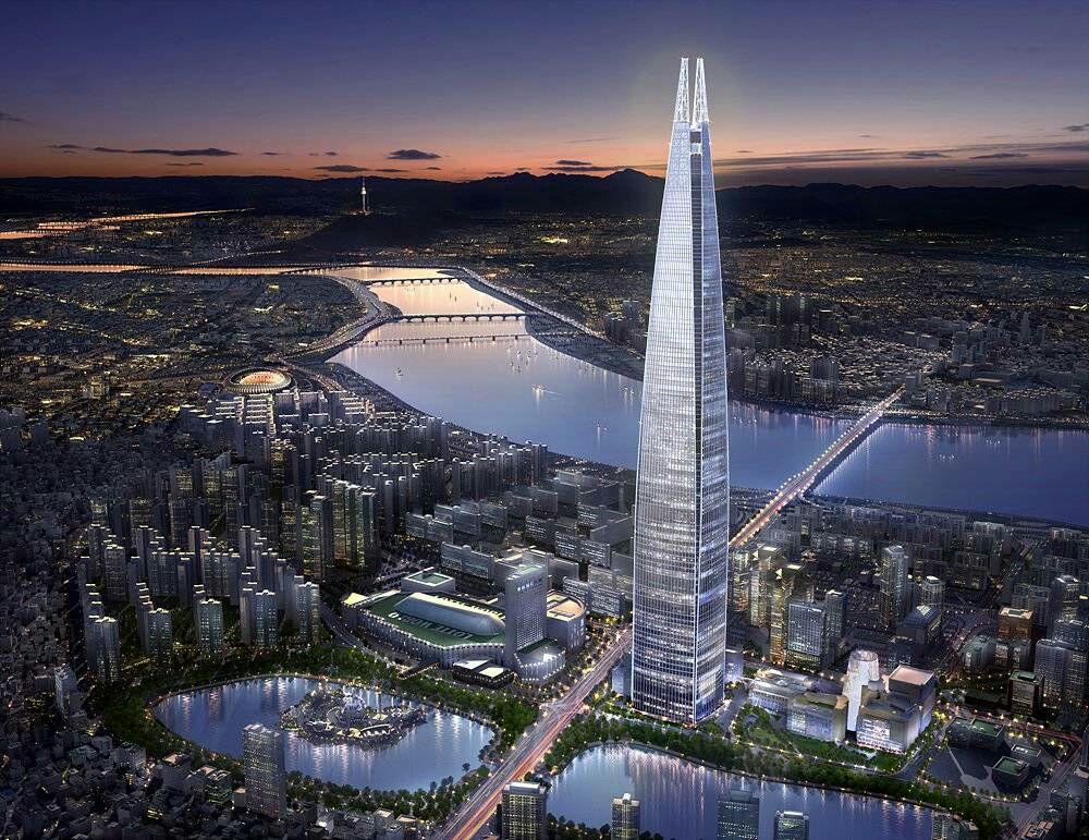 ساخت برج Lotte World در سئول به اتمام رسید