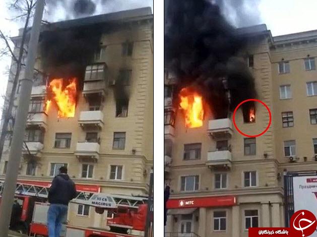 شعله ور شدن یک زن در آتش +تصاویر