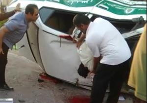 واژگونی خودروی پلیس و جان باختن مأمور انتظامی/ فیلم 18+
