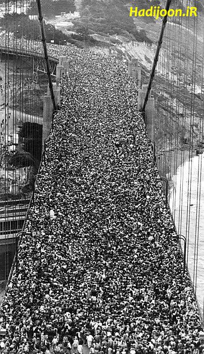 عکسی جالب از افتتاح بزرگترین پل معلق جهان