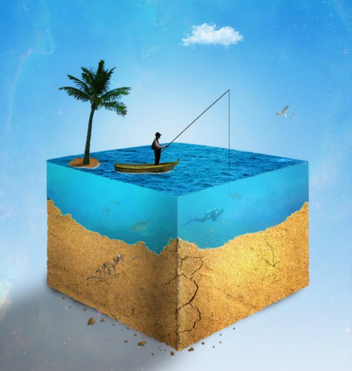 دانلود لایه باز طرح دریای مکعبی شکل