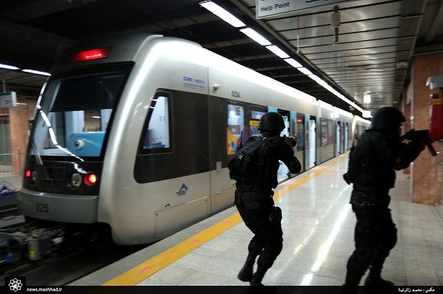 مانور مبارزه با عملیات خرابکارانه؛رهایی گروگان در ایستگاه آزادی خط یک قطارشهری مشهد