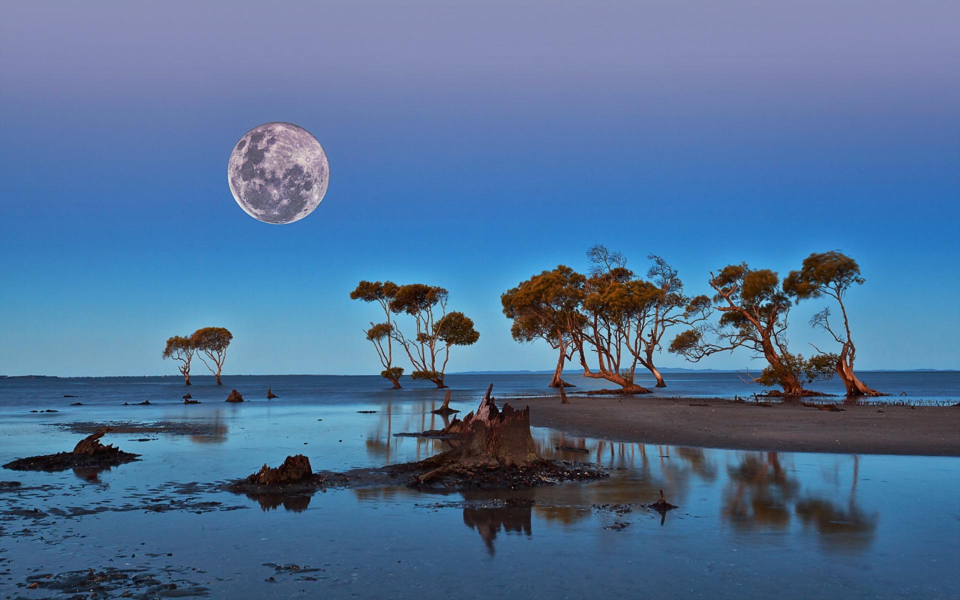 ماه و دریاچه
