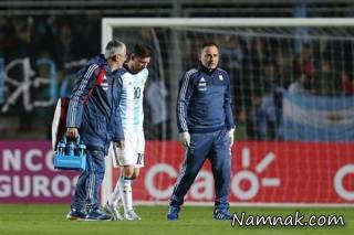 مصدومیت لیونل مسی در بازی مقابل هندوراس