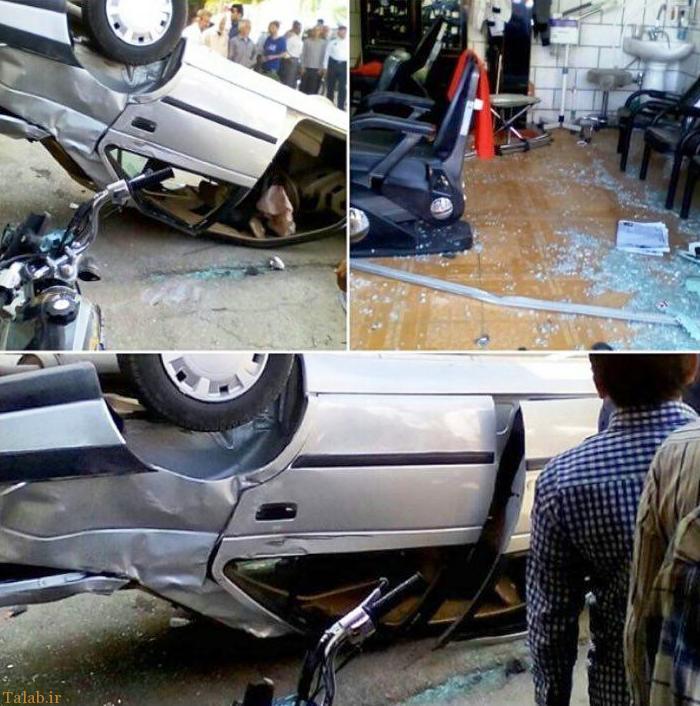 حادثه ای واژگونی خودروی پژو 405 و ورود به داخل آرایشگاه