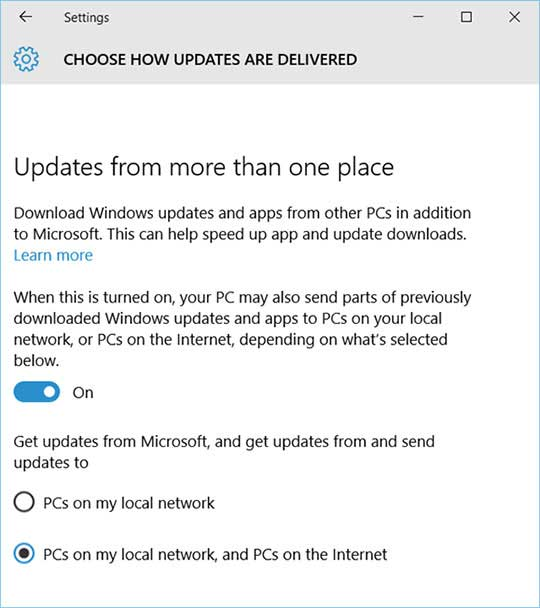 قابلیت Windows Update Delivery Optimization