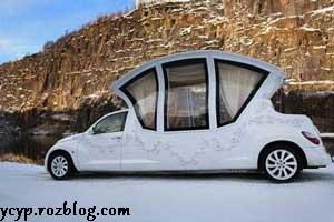 تصویری جالب از ماشین عروس خاص