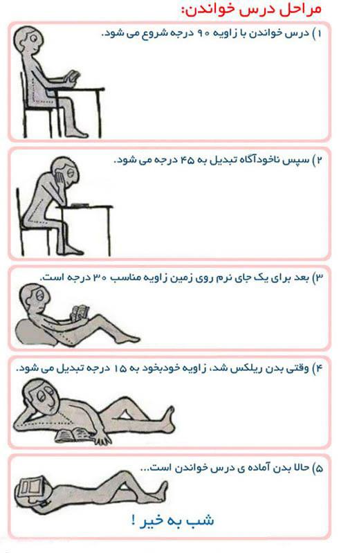 عکس نوشته خنده دار : مراحل درس خواندن !