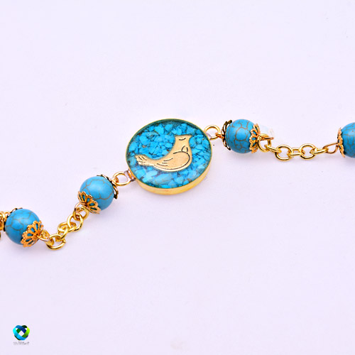 خرید اینترنتی «دستبند مرغ آمين با سنگ فيروزه»