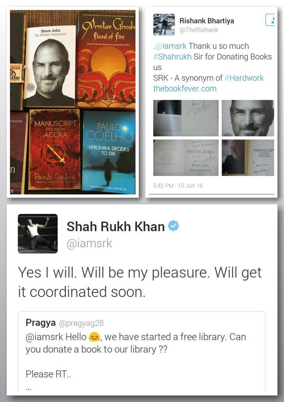 اهدای کتاب به کتابخانه توسط شاهرخ خان