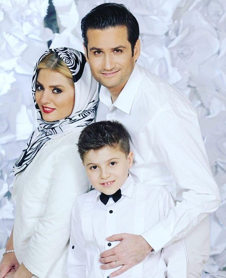 پویا امینی در کنار همسر و پسرش