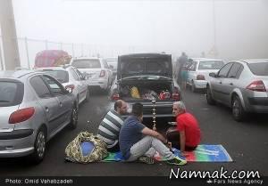 بساط قلیان در ترافیک سنگین جاده چالوس! + تصاویر