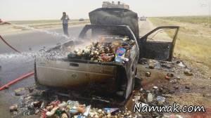 آتش سوزی خودرو به دلیل گرمای هوا در خوزستان + تصاویر