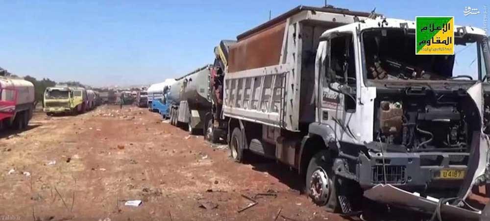 انهدام دسته جمعی تانکرهای نفت داعش توسط هواپیماهای روسی