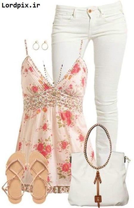 ست کردن لباس تابستانی،ست لباس تابستانی با شلوار سفید