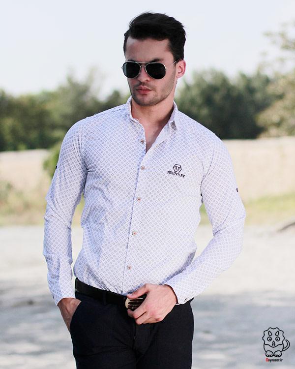 خرید پیراهن نخی مردانه سفید طرح دار